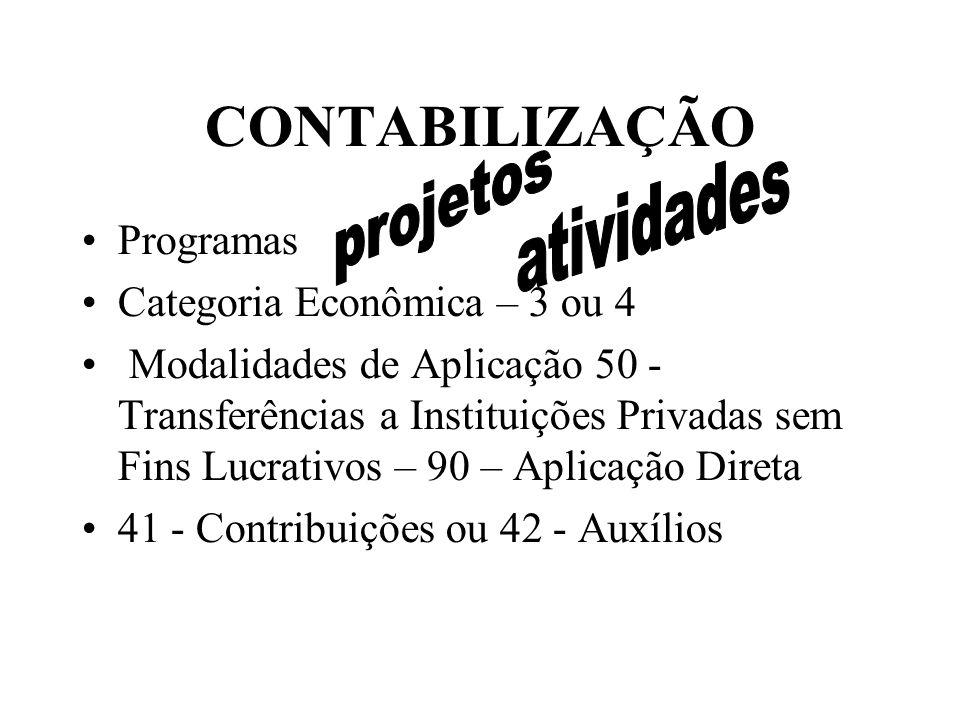 CONTABILIZAÇÃO Programas Categoria Econômica – 3 ou 4 Modalidades de Aplicação 50 - Transferências a Instituições Privadas sem Fins Lucrativos – 90 – Aplicação Direta 41 - Contribuições ou 42 - Auxílios