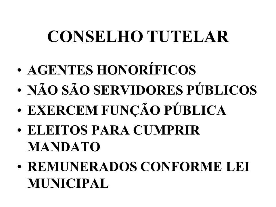 CONSELHO TUTELAR AGENTES HONORÍFICOS NÃO SÃO SERVIDORES PÚBLICOS EXERCEM FUNÇÃO PÚBLICA ELEITOS PARA CUMPRIR MANDATO REMUNERADOS CONFORME LEI MUNICIPAL