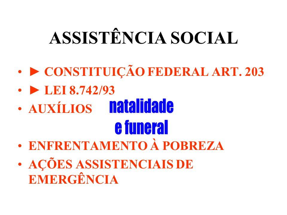 ASSISTÊNCIA SOCIAL CONSTITUIÇÃO FEDERAL ART. 203 LEI 8.742/93 AUXÍLIOS ENFRENTAMENTO À POBREZA AÇÕES ASSISTENCIAIS DE EMERGÊNCIA