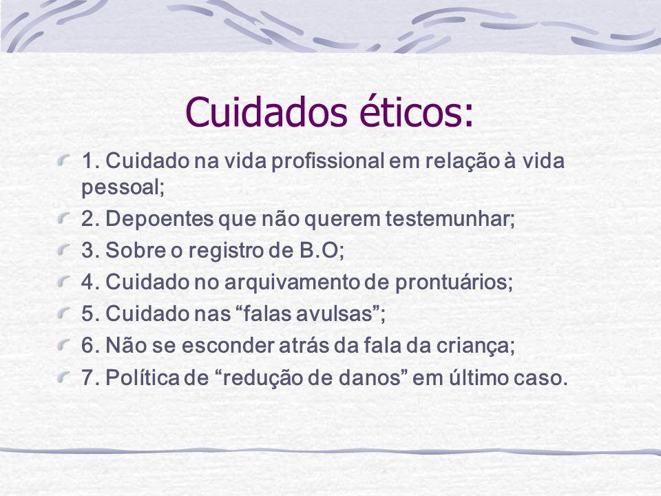 Cuidados éticos: 1. Cuidado na vida profissional em relação à vida pessoal; 2.