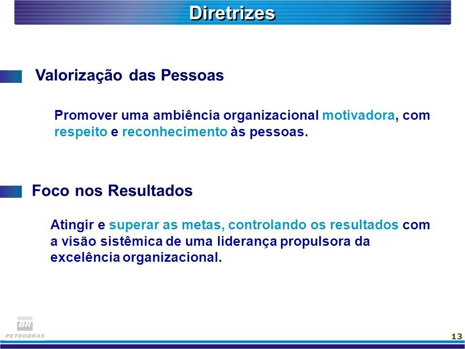 13 Diretrizes Valorização das Pessoas Foco nos Resultados Promover uma ambiência organizacional motivadora, com respeito e reconhecimento às pessoas.