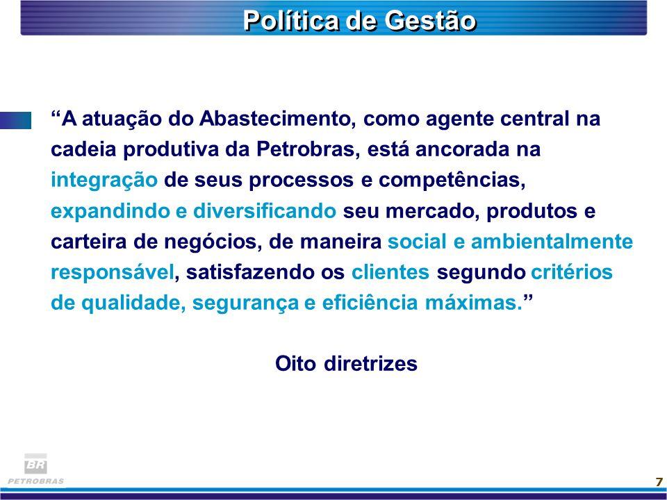 7 Política de Gestão A atuação do Abastecimento, como agente central na cadeia produtiva da Petrobras, está ancorada na integração de seus processos e
