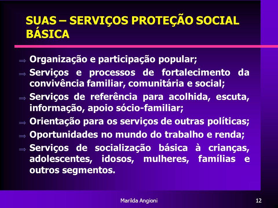 Marilda Angioni12 SUAS – SERVIÇOS PROTEÇÃO SOCIAL BÁSICA Organização e participação popular; Serviços e processos de fortalecimento da convivência fam