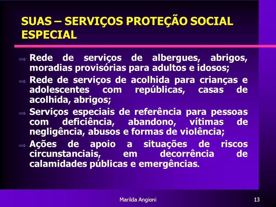 Marilda Angioni13 SUAS – SERVIÇOS PROTEÇÃO SOCIAL ESPECIAL Rede de serviços de albergues, abrigos, moradias provisórias para adultos e idosos; Rede de