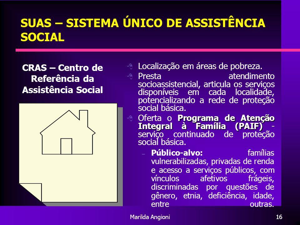 Marilda Angioni16 SUAS – SISTEMA ÚNICO DE ASSISTÊNCIA SOCIAL Localização em áreas de pobreza. Presta atendimento socioassistencial, articula os serviç