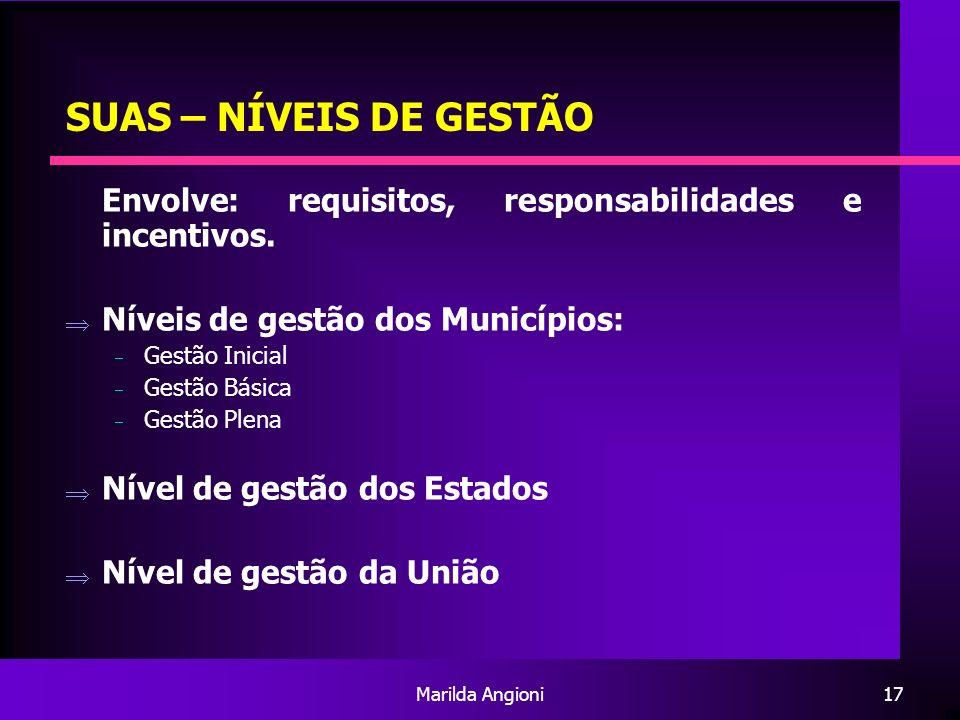 Marilda Angioni17 SUAS – NÍVEIS DE GESTÃO Envolve: requisitos, responsabilidades e incentivos. Níveis de gestão dos Municípios: Gestão Inicial Gestão