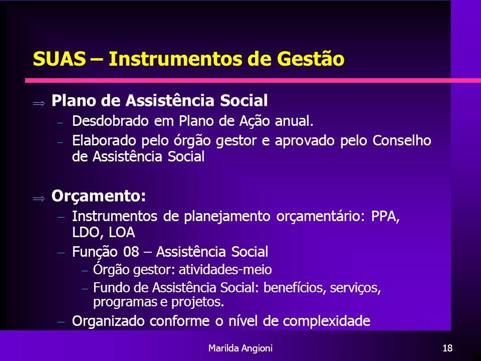Marilda Angioni18 SUAS – Instrumentos de Gestão Plano de Assistência Social Desdobrado em Plano de Ação anual. Elaborado pelo órgão gestor e aprovado