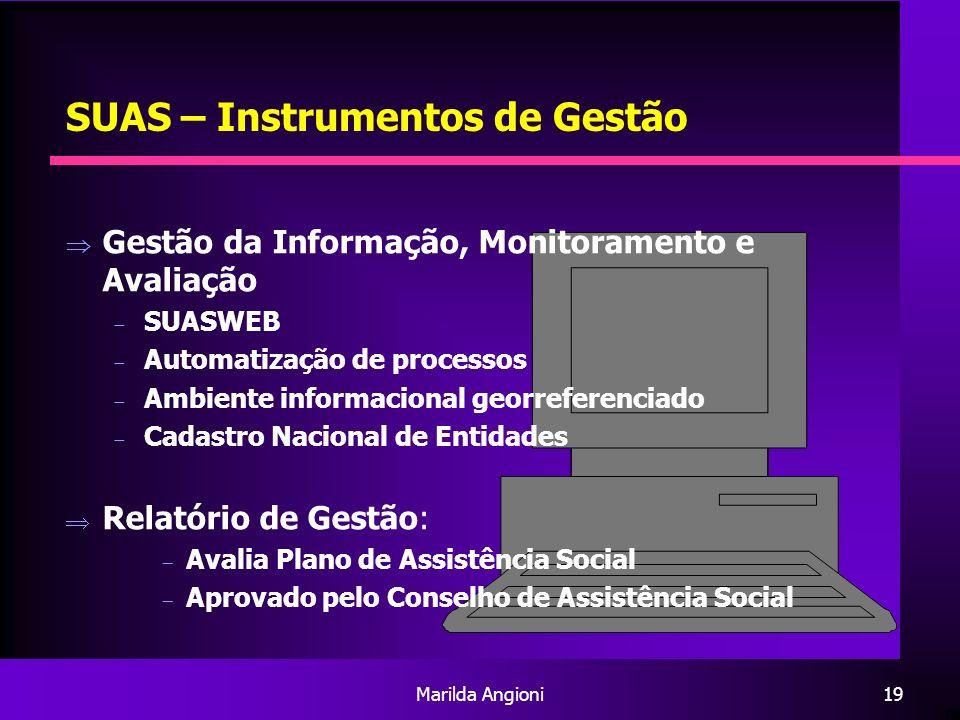 Marilda Angioni19 SUAS – Instrumentos de Gestão Gestão da Informação, Monitoramento e Avaliação SUASWEB Automatização de processos Ambiente informacio