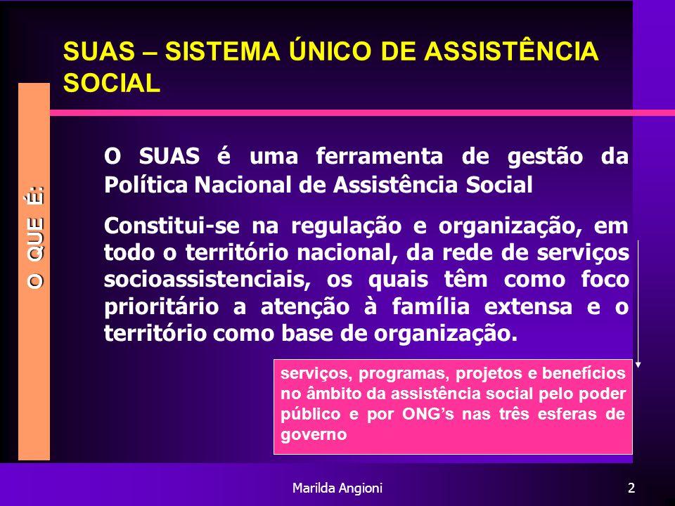 Marilda Angioni2 SUAS – SISTEMA ÚNICO DE ASSISTÊNCIA SOCIAL O SUAS é uma ferramenta de gestão da Política Nacional de Assistência Social Constitui-se