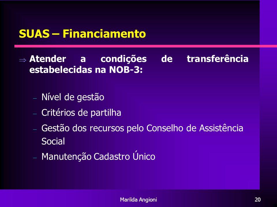 Marilda Angioni20 SUAS – Financiamento Atender a condições de transferência estabelecidas na NOB-3: Nível de gestão Critérios de partilha Gestão dos r