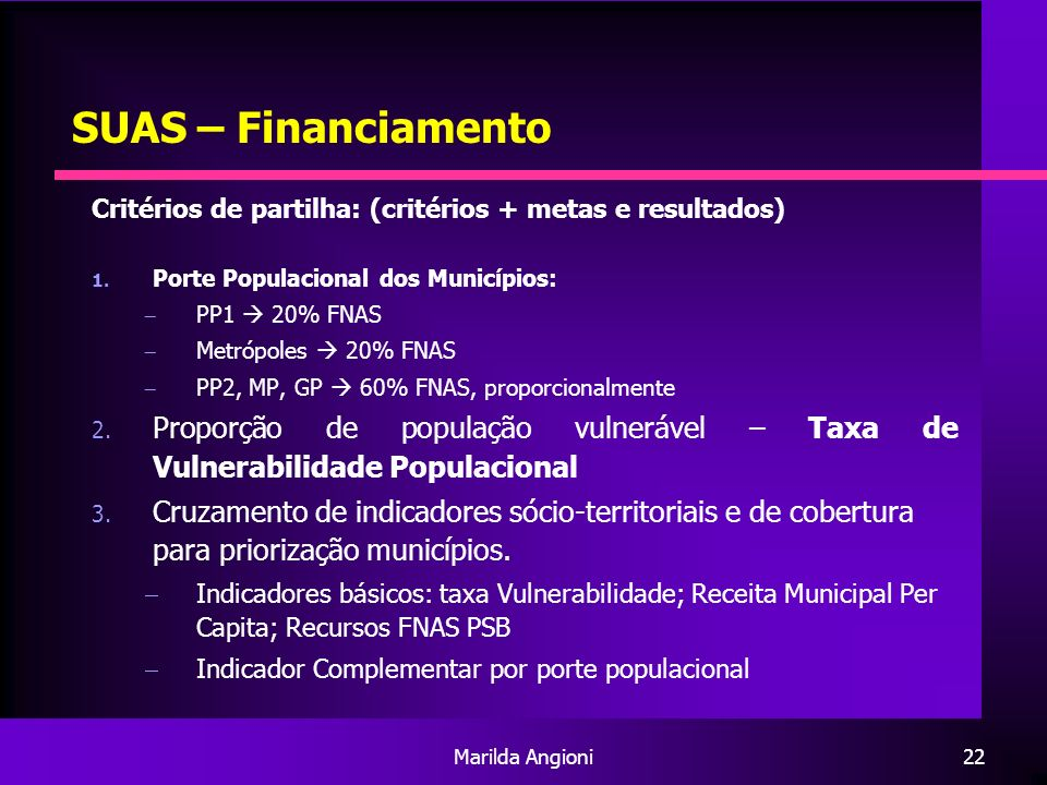Marilda Angioni22 SUAS – Financiamento Critérios de partilha: (critérios + metas e resultados) 1. Porte Populacional dos Municípios: PP1 20% FNAS Metr