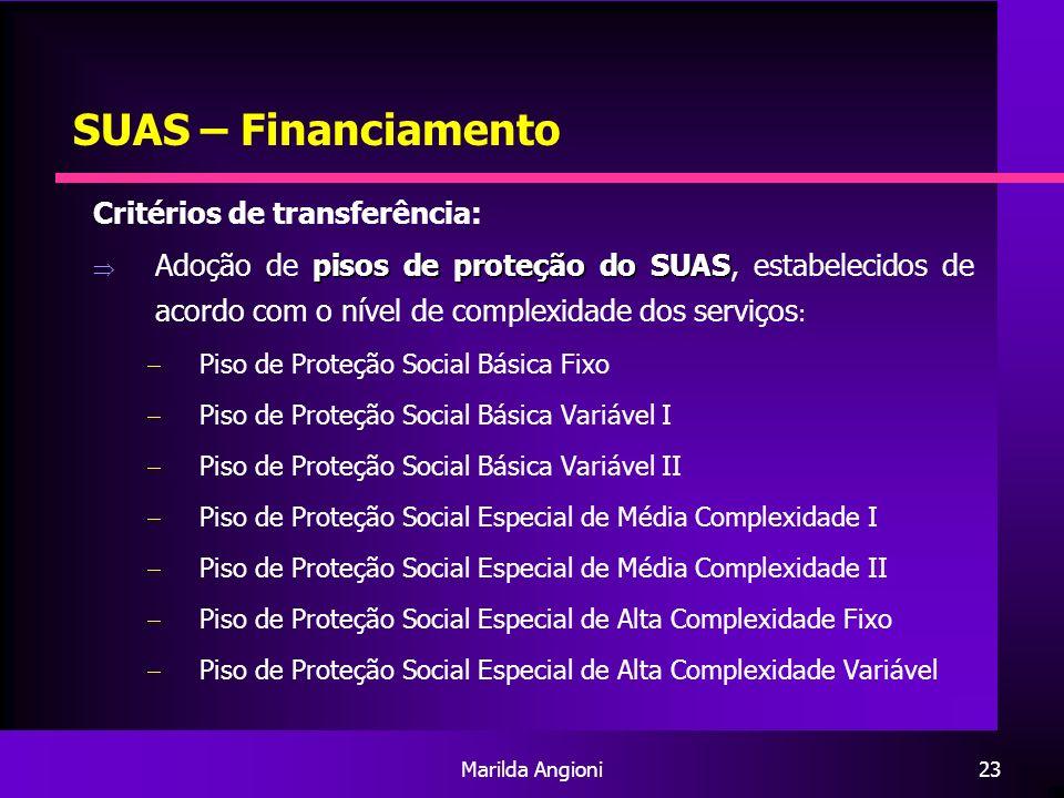 Marilda Angioni23 SUAS – Financiamento Critérios de transferência: pisos de proteção do SUAS Adoção de pisos de proteção do SUAS, estabelecidos de aco