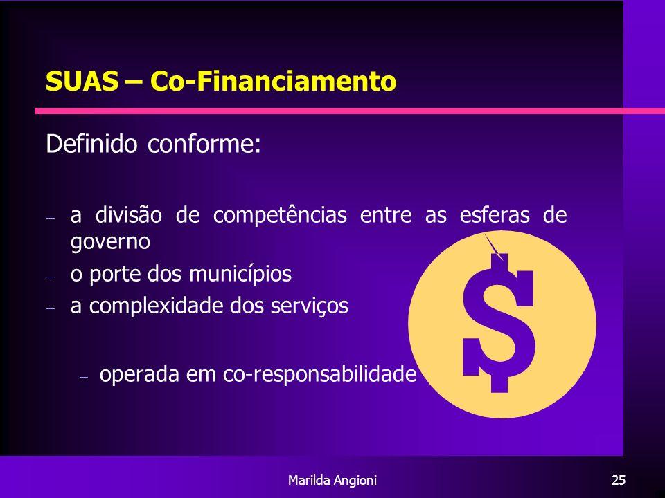 Marilda Angioni25 SUAS – Co-Financiamento Definido conforme: a divisão de competências entre as esferas de governo o porte dos municípios a complexida