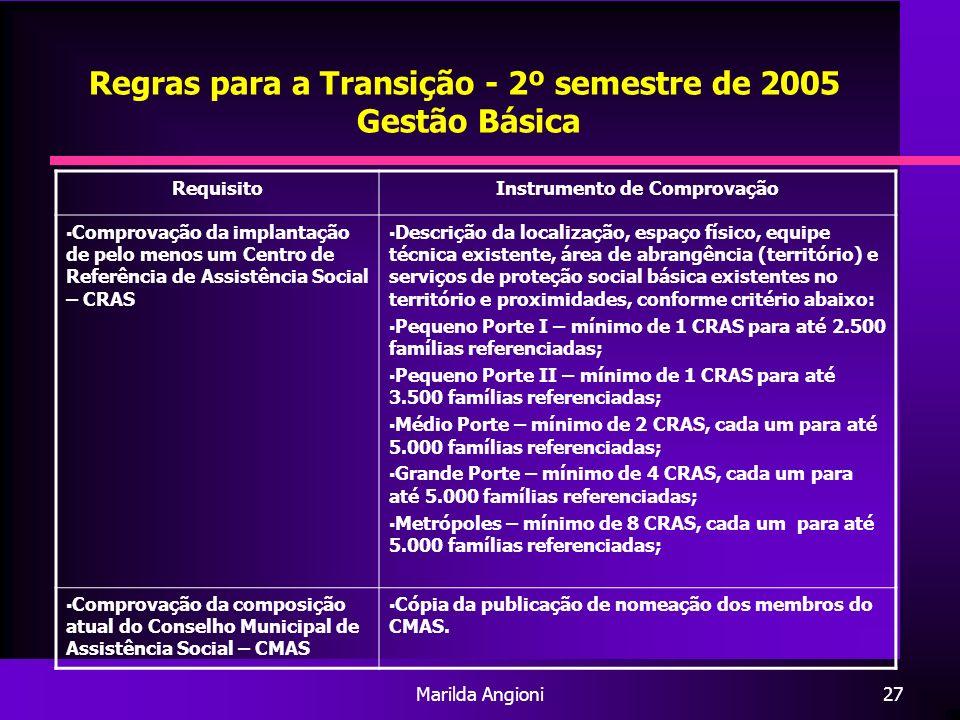 Marilda Angioni27 Regras para a Transição - 2º semestre de 2005 Gestão Básica RequisitoInstrumento de Comprovação Comprovação da implantação de pelo m