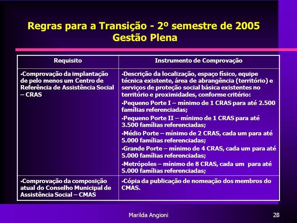 Marilda Angioni28 Regras para a Transição - 2º semestre de 2005 Gestão Plena RequisitoInstrumento de Comprovação Comprovação da implantação de pelo me