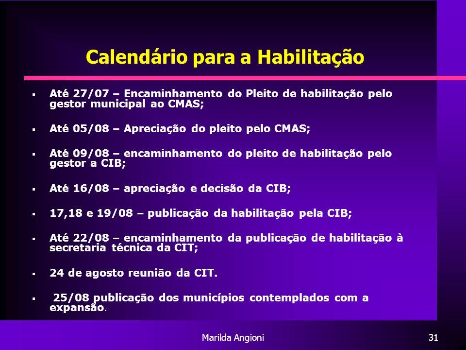 Marilda Angioni31 Calendário para a Habilitação Até 27/07 – Encaminhamento do Pleito de habilitação pelo gestor municipal ao CMAS; Até 05/08 – Aprecia