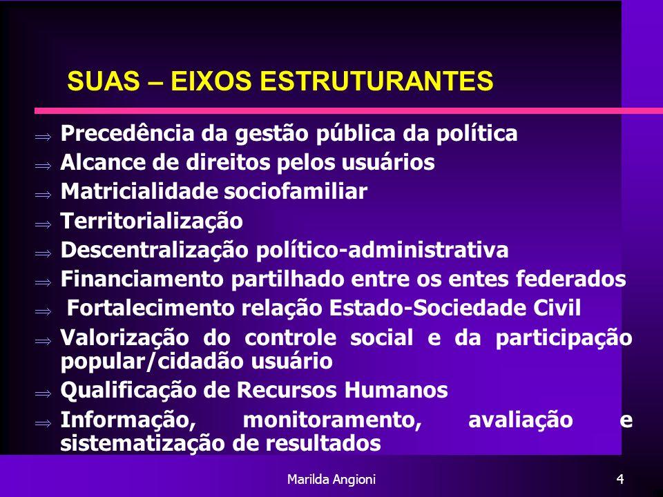 Marilda Angioni4 SUAS – EIXOS ESTRUTURANTES Precedência da gestão pública da política Alcance de direitos pelos usuários Matricialidade sociofamiliar