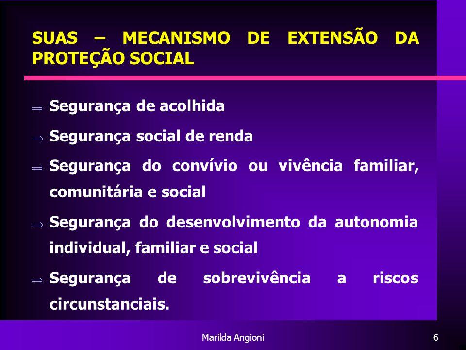 Marilda Angioni7 SUAS – MECANISMO DE EXTENSÃO DA PROTEÇÃO SOCIAL Princípios: Centralidade na família e na comunidade, na perspectiva da emancipação dos sujeitos sociais Proteção Pró-Ativa Integração à Seguridade Social Integração às políticas sociais e econômicas