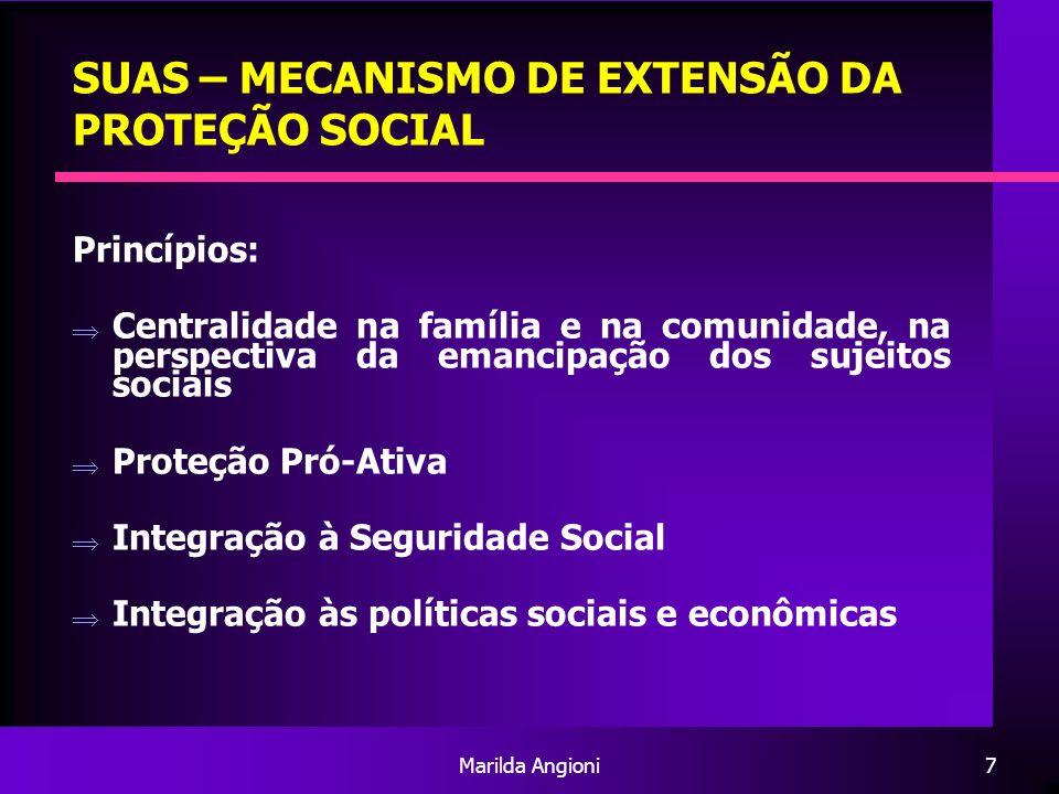 Marilda Angioni7 SUAS – MECANISMO DE EXTENSÃO DA PROTEÇÃO SOCIAL Princípios: Centralidade na família e na comunidade, na perspectiva da emancipação do