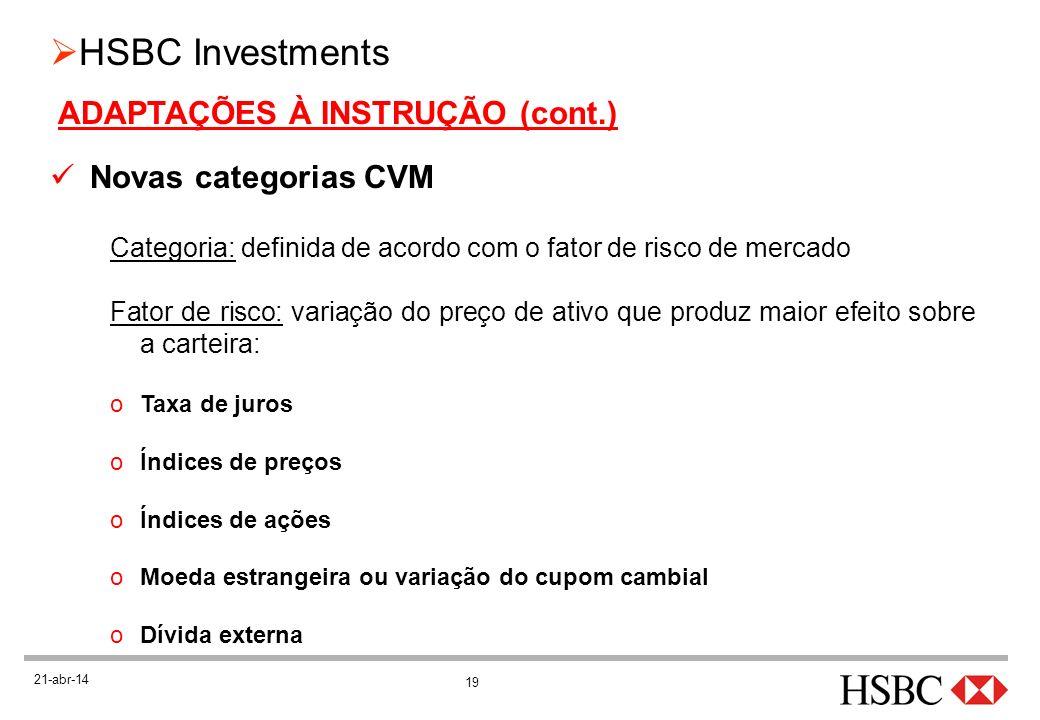 19 HSBC Investments 21-abr-14 ADAPTAÇÕES À INSTRUÇÃO (cont.) Novas categorias CVM Categoria: definida de acordo com o fator de risco de mercado Fator