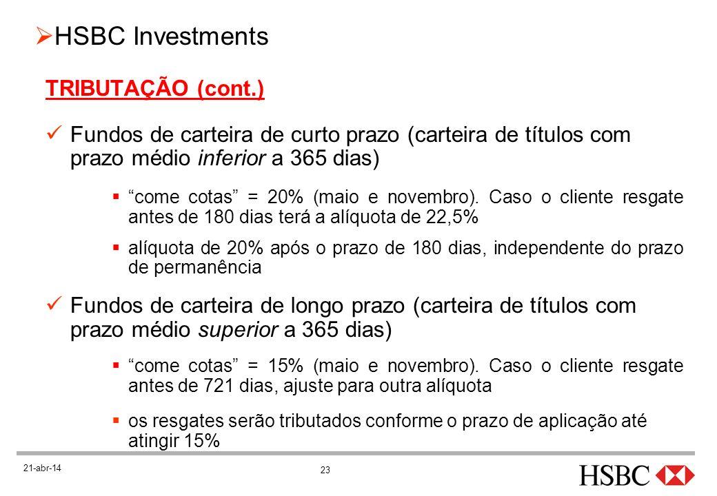 23 HSBC Investments 21-abr-14 TRIBUTAÇÃO (cont.) Fundos de carteira de curto prazo (carteira de títulos com prazo médio inferior a 365 dias) come cota