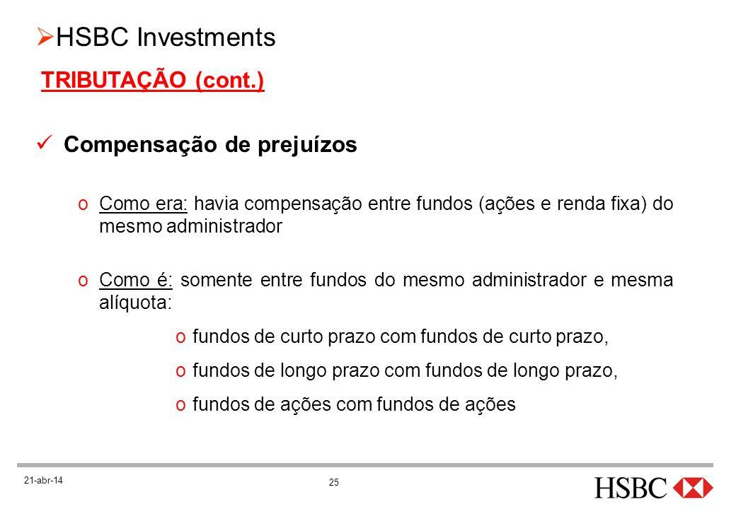 25 HSBC Investments 21-abr-14 TRIBUTAÇÃO (cont.) Compensação de prejuízos oComo era: havia compensação entre fundos (ações e renda fixa) do mesmo admi