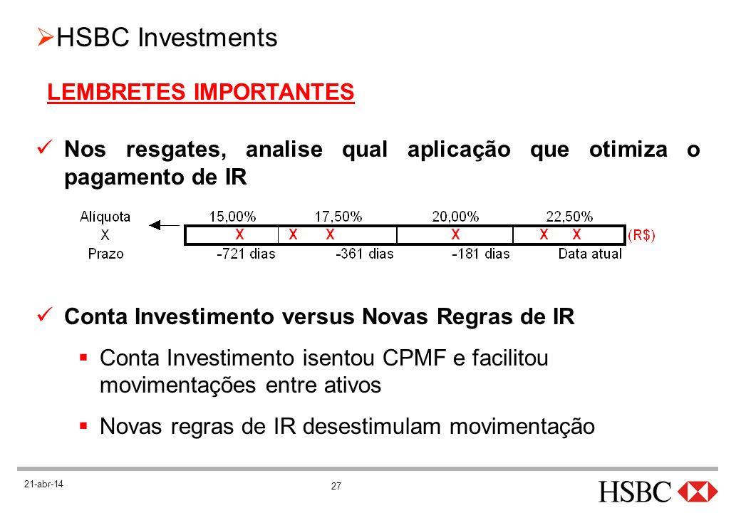 27 HSBC Investments 21-abr-14 LEMBRETES IMPORTANTES Nos resgates, analise qual aplicação que otimiza o pagamento de IR Conta Investimento versus Novas