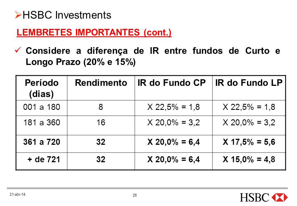 28 HSBC Investments 21-abr-14 LEMBRETES IMPORTANTES (cont.) Considere a diferença de IR entre fundos de Curto e Longo Prazo (20% e 15%) Período (dias)