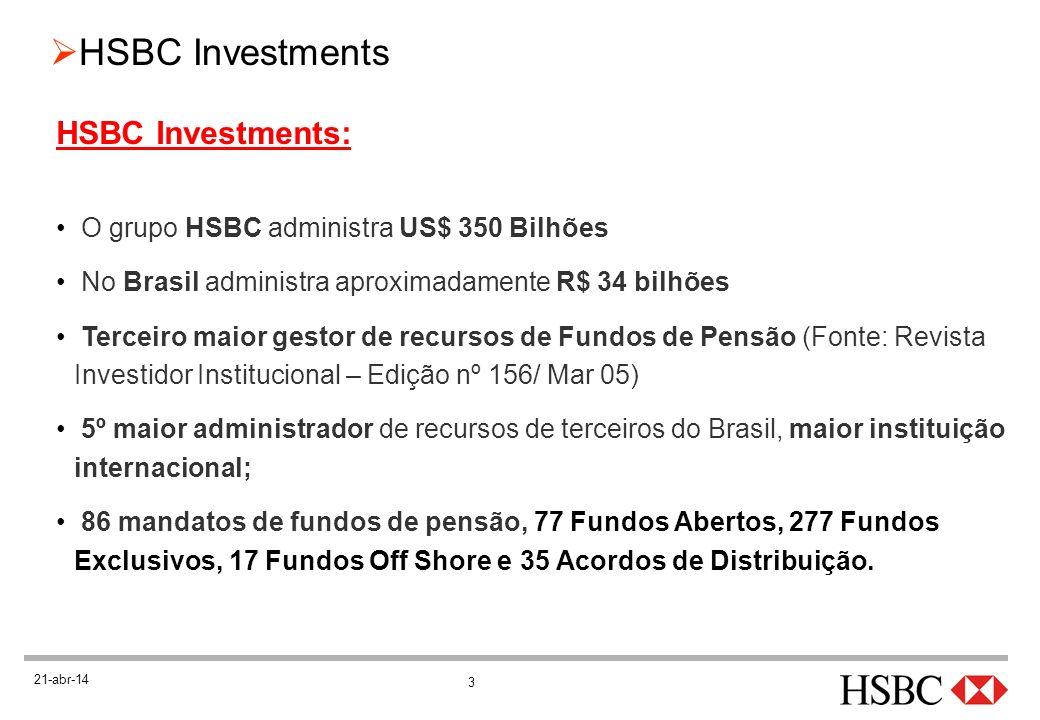 3 HSBC Investments 21-abr-14 HSBC Investments: O grupo HSBC administra US$ 350 Bilhões No Brasil administra aproximadamente R$ 34 bilhões Terceiro mai