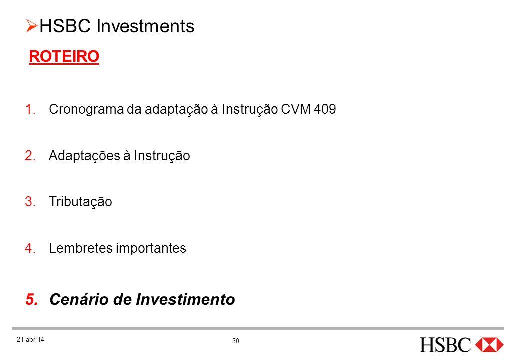 30 HSBC Investments 21-abr-14 ROTEIRO 1.Cronograma da adaptação à Instrução CVM 409 2.Adaptações à Instrução 3.Tributação 4.Lembretes importantes 5.Ce