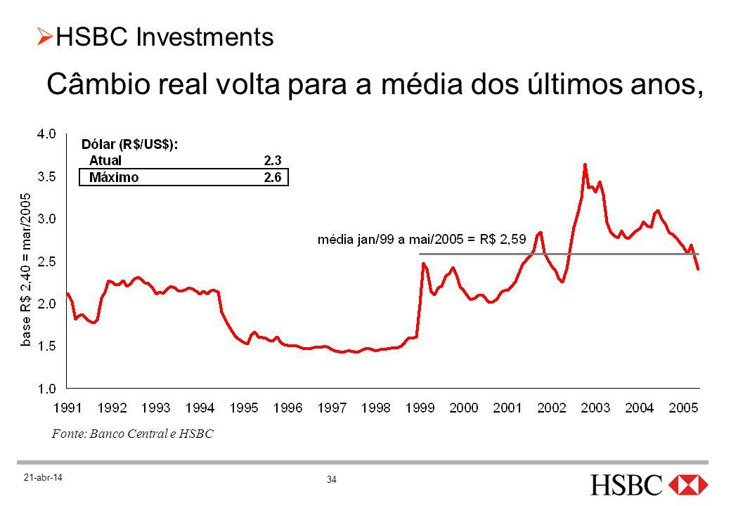 34 HSBC Investments 21-abr-14 Câmbio real volta para a média dos últimos anos, Fonte: Banco Central e HSBC