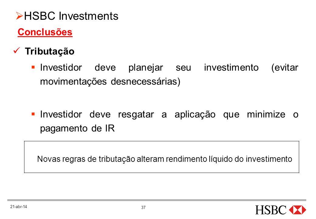 37 HSBC Investments 21-abr-14 Tributação Investidor deve planejar seu investimento (evitar movimentações desnecessárias) Investidor deve resgatar a ap