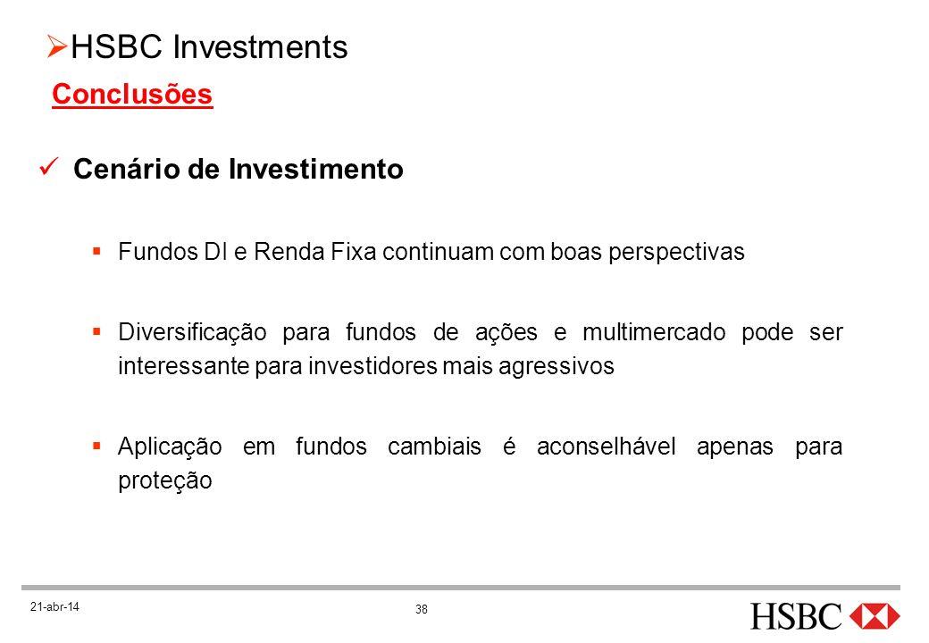 38 HSBC Investments 21-abr-14 Cenário de Investimento Fundos DI e Renda Fixa continuam com boas perspectivas Diversificação para fundos de ações e mul