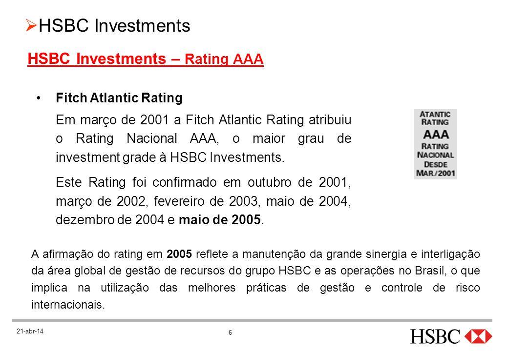 6 21-abr-14 Fitch Atlantic Rating Em março de 2001 a Fitch Atlantic Rating atribuiu o Rating Nacional AAA, o maior grau de investment grade à HSBC Inv