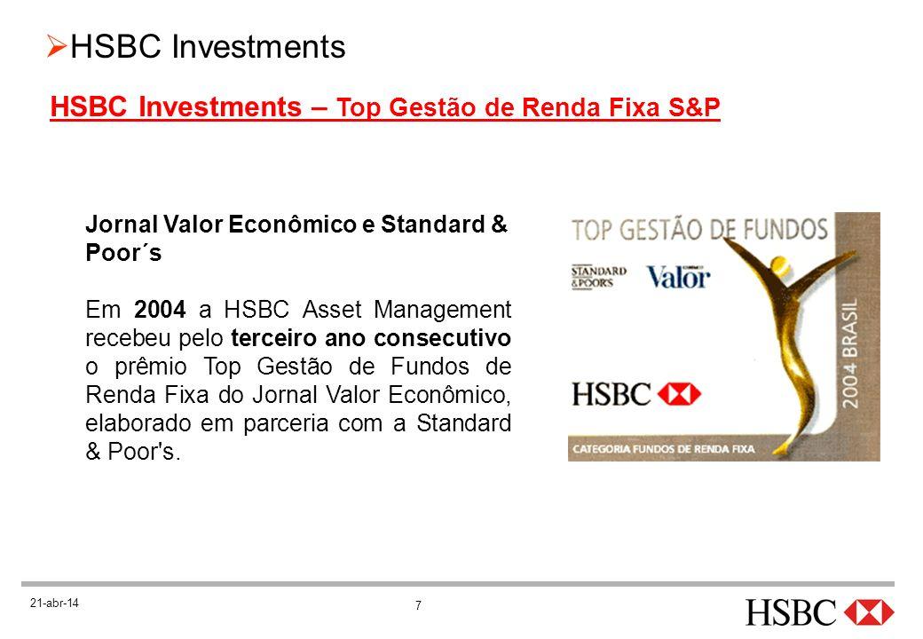 28 HSBC Investments 21-abr-14 LEMBRETES IMPORTANTES (cont.) Considere a diferença de IR entre fundos de Curto e Longo Prazo (20% e 15%) Período (dias) RendimentoIR do Fundo CPIR do Fundo LP 001 a 1808X 22,5% = 1,8 181 a 36016X 20,0% = 3,2 361 a 72032X 20,0% = 6,4X 17,5% = 5,6 + de 72132X 20,0% = 6,4X 15,0% = 4,8