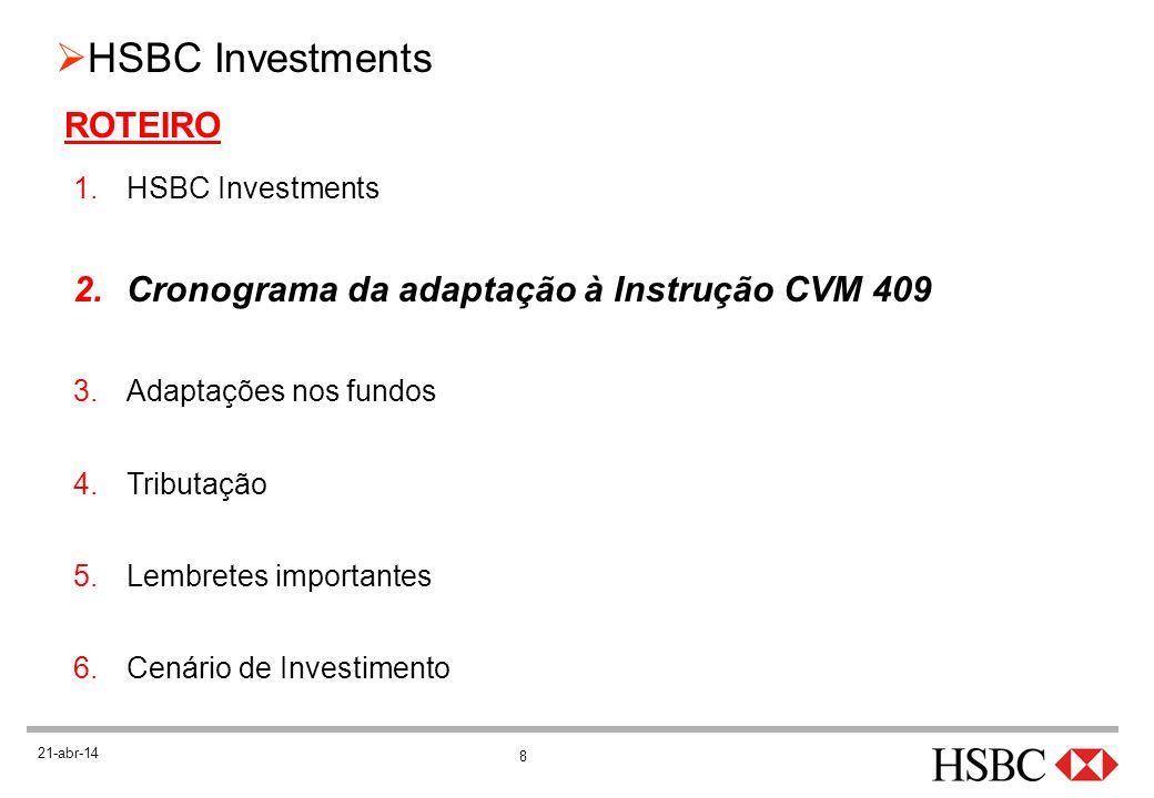 19 HSBC Investments 21-abr-14 ADAPTAÇÕES À INSTRUÇÃO (cont.) Novas categorias CVM Categoria: definida de acordo com o fator de risco de mercado Fator de risco: variação do preço de ativo que produz maior efeito sobre a carteira: oTaxa de juros oÍndices de preços oÍndices de ações oMoeda estrangeira ou variação do cupom cambial oDívida externa
