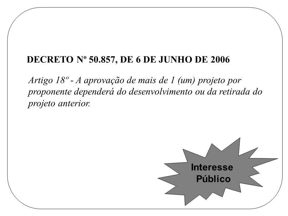 Artigo 18º - A aprovação de mais de 1 (um) projeto por proponente dependerá do desenvolvimento ou da retirada do projeto anterior.
