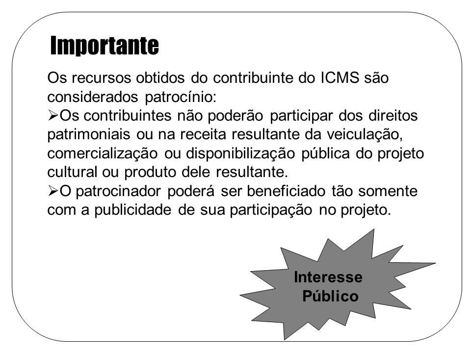 Os recursos obtidos do contribuinte do ICMS são considerados patrocínio: Os contribuintes não poderão participar dos direitos patrimoniais ou na receita resultante da veiculação, comercialização ou disponibilização pública do projeto cultural ou produto dele resultante.