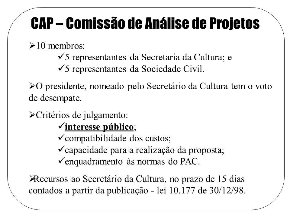CAP – Comissão de Análise de Projetos 10 membros: 5 representantes da Secretaria da Cultura; e 5 representantes da Sociedade Civil.