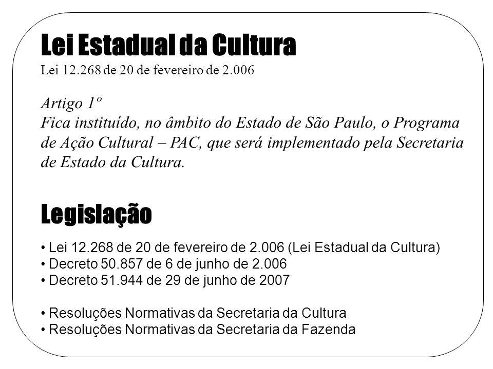 Lei Estadual da Cultura Lei 12.268 de 20 de fevereiro de 2.006 Artigo 1º Fica instituído, no âmbito do Estado de São Paulo, o Programa de Ação Cultural – PAC, que será implementado pela Secretaria de Estado da Cultura.