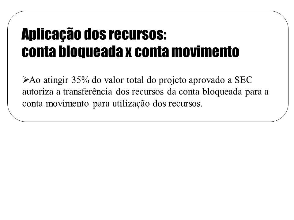 Aplicação dos recursos: conta bloqueada x conta movimento Ao atingir 35% do valor total do projeto aprovado a SEC autoriza a transferência dos recursos da conta bloqueada para a conta movimento para utilização dos recursos.