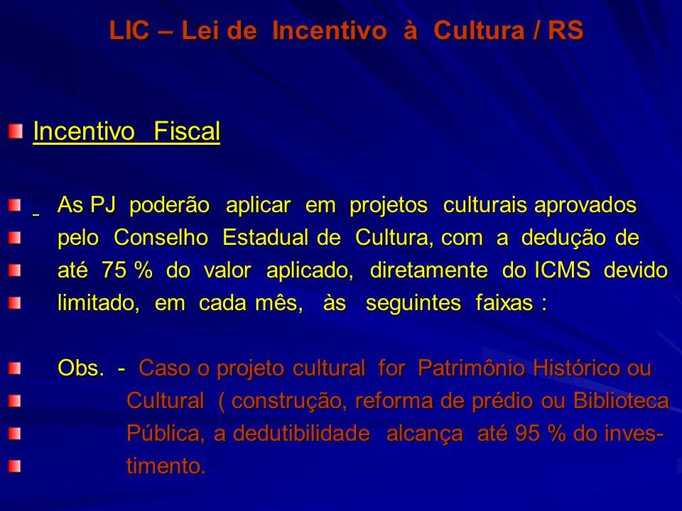 LIC – Lei de Incentivo à Cultura / RS Incentivo Fiscal As PJ poderão aplicar em projetos culturais aprovados As PJ poderão aplicar em projetos cultura