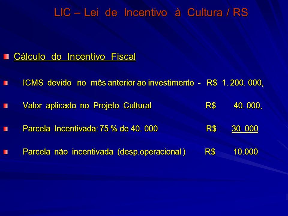 LIC – Lei de Incentivo à Cultura / RS Cálculo do Incentivo Fiscal ICMS devido no mês anterior ao investimento - R$ 1. 200. 000, ICMS devido no mês ant