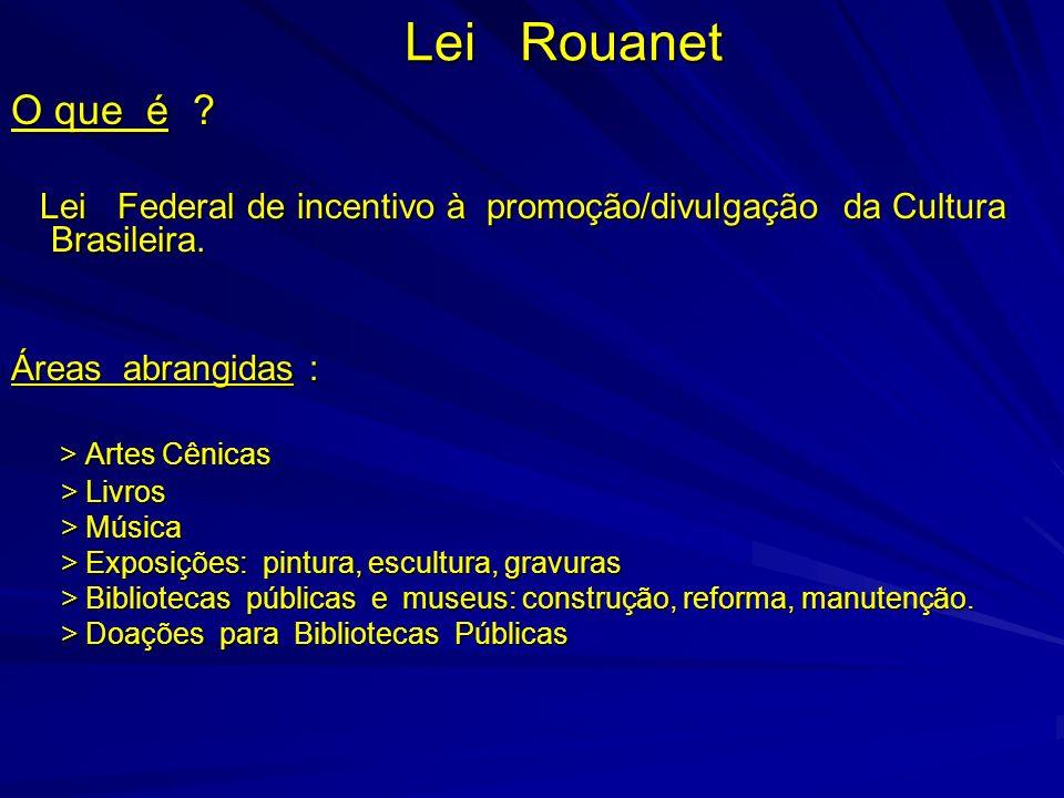 Lei Rouanet O que é ? Lei Federal de incentivo à promoção/divulgação da Cultura Brasileira. Lei Federal de incentivo à promoção/divulgação da Cultura