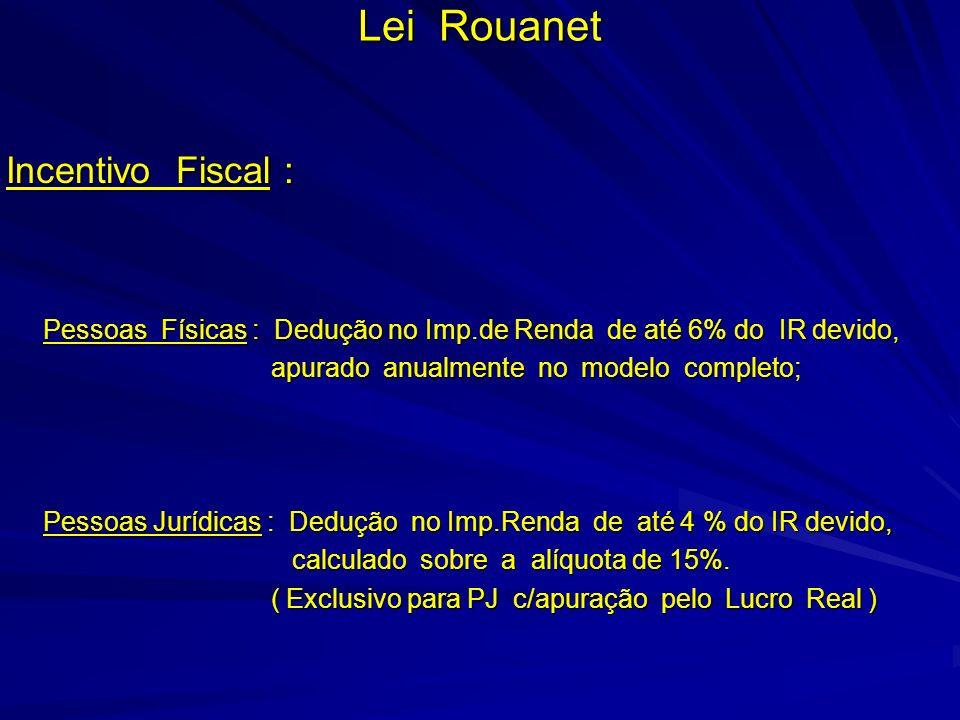Lei Rouanet Incentivo Fiscal : Pessoas Físicas : Dedução no Imp.de Renda de até 6% do IR devido, Pessoas Físicas : Dedução no Imp.de Renda de até 6% d