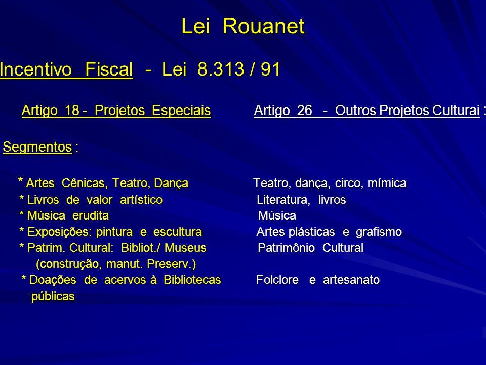 Lei Rouanet Incentivo Fiscal - Lei 8.313 / 91 Artigo 18 - Projetos Especiais Artigo 26 - Outros Projetos Culturai : Artigo 18 - Projetos Especiais Art