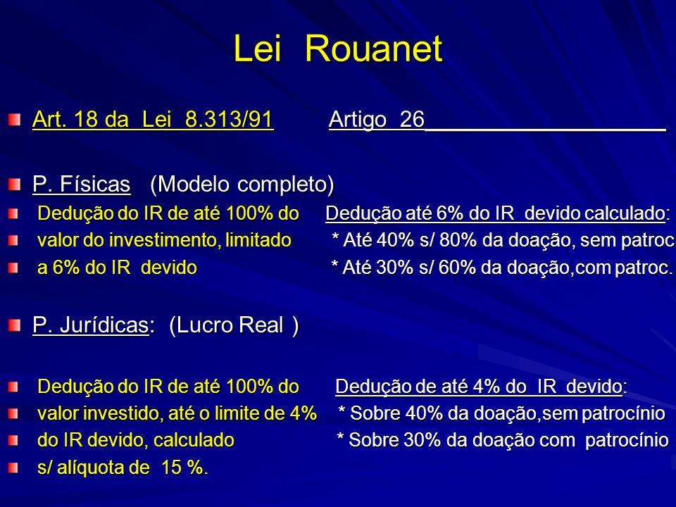 Lei Rouanet Art. 18 da Lei 8.313/91 Artigo 26___________________ P. Físicas (Modelo completo) Dedução do IR de até 100% do Dedução até 6% do IR devido