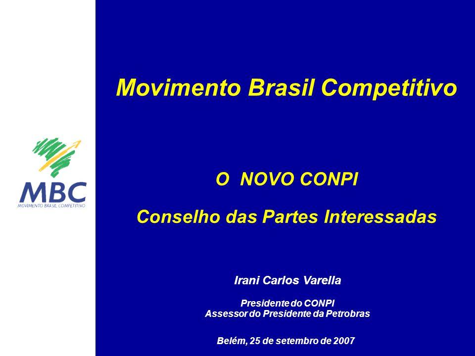 Movimento Brasil Competitivo Belém, 25 de setembro de 2007 O NOVO CONPI Conselho das Partes Interessadas Irani Carlos Varella Presidente do CONPI Asse