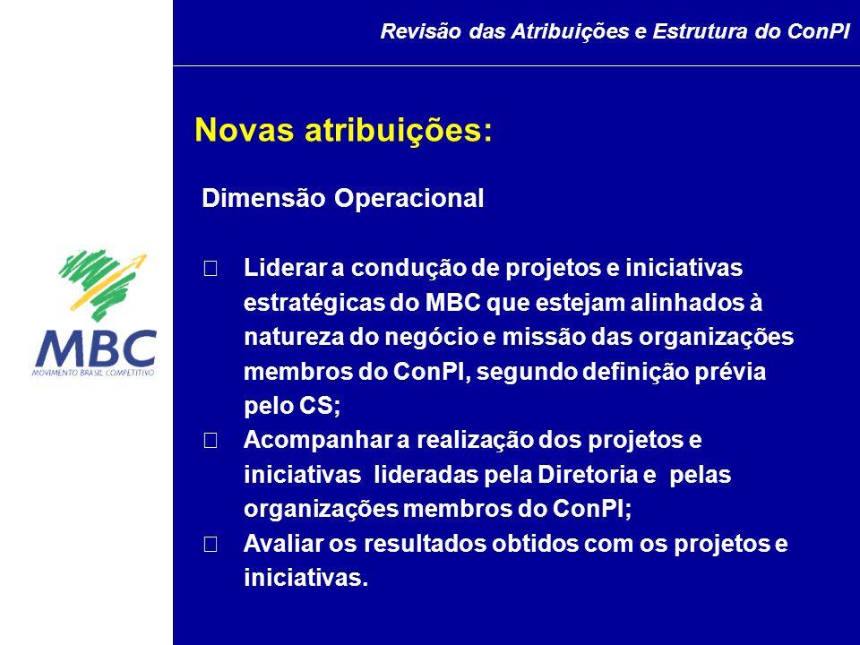 Dimensão Operacional Liderar a condução de projetos e iniciativas estratégicas do MBC que estejam alinhados à natureza do negócio e missão das organiz