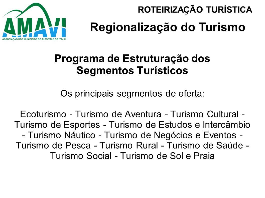 Programa de Estruturação dos Segmentos Turísticos Os principais segmentos de oferta: Ecoturismo - Turismo de Aventura - Turismo Cultural - Turismo de